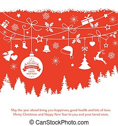 Card with hanging Christmas ornaments over fir tree landscape