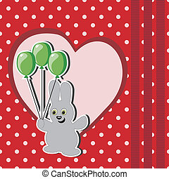 card with hare and balloons