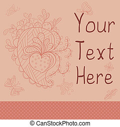 card with heart and hand-drawn designs.