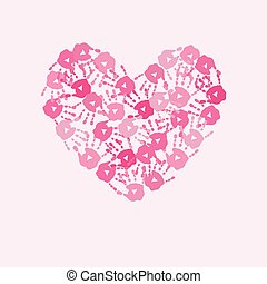 Card with  heart of pink handprints