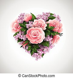 Card with heart of roses. Vector