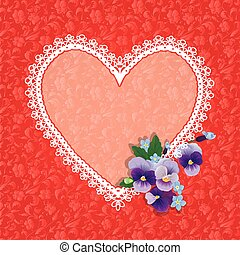 Card with Heart shape is made of lace doily and pansy folwers on