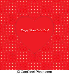 Card with heart shape on Polka dot background
