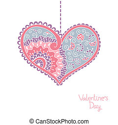 Card with hearts for Valentine day.