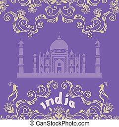 Card with Indian ornament