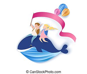 Card with kids sitting on whale flying in sky