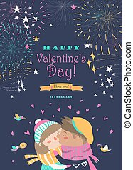Card with kissing couple and firework