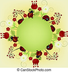 Card with ladybugs and a flowers