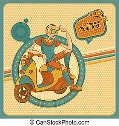 Card with man on scooter in retro style