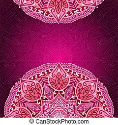 Card with mandala. Lace background. Card or invitation. Empty Red mandala.