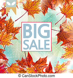 Card with maple leaves, autumn sale.