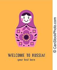 Card with matryoshka russian nesting doll - Greeting card...