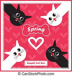 card with motley cat - cartoon illustration