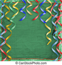 Card with multicolor streamers to holiday on the abstract  background