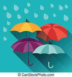 Card with multicolor umbrellas in flat design style.