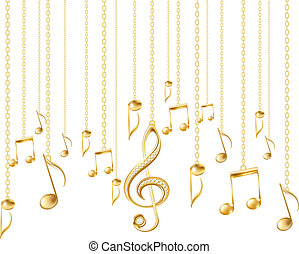 Card with musical notes and golden treble clef on a white background. Vector illustration