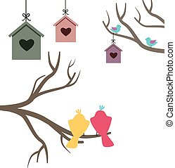 Card with nesting boxes and birds