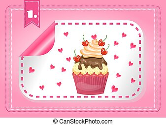 Card with one modern, label with cupcake