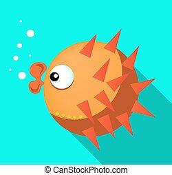 Card with orange fish, blue background, flat style