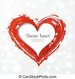 Card with paper-cut grunge heart