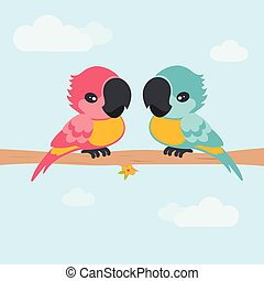 card with parrots