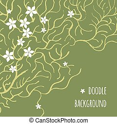 Vector card with an intricate spring pattern of branches and white flowers