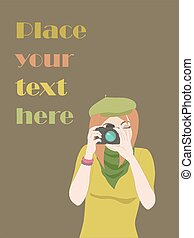 Card with photographer girl and place for text.