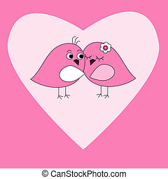 Card with pink heart and birds