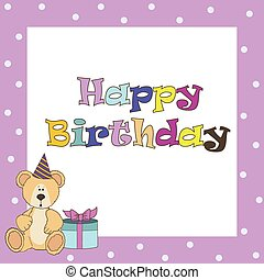 Card with pink teddy bear for girl