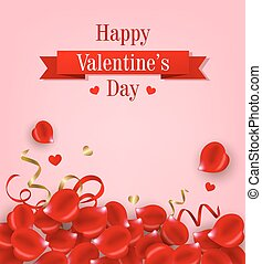 Card with red rose petals