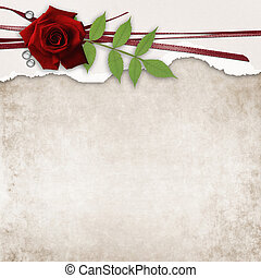 card with rose and old grunge paper