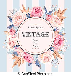 Card with roses and elderberry - Vector vintage card with ...