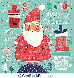 Card with Santa Claus