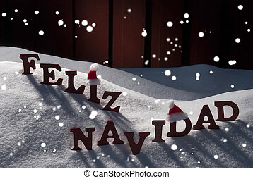 Card With Santa Hat, Snowflakes, Feliz Navidad Mean Christmas