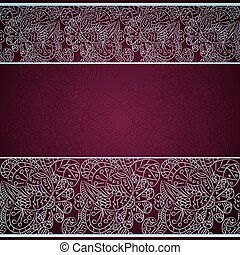 Card with silver floral ornament on red background
