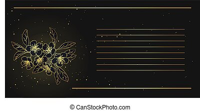card with stylized cherry blossom . golden blooming cherry in the night sky. lights and stars.Vector Illustration .Eps 10.