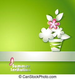 Card with stylized flowers in pot
