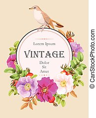 Card with sweet briar - Vector vintage card with sweet briar...