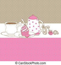 Card with tea cap, pot and sweet cupcake
