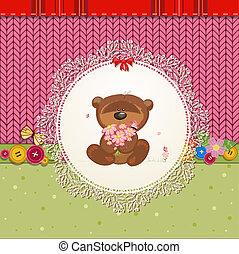 card with teddy bear for your design