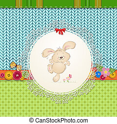 card with teddy rabbit for your design