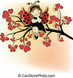 Tree with red hearts, the girl