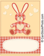 Card with the hare for baby shower 3