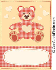 Card with the teddy bear for baby shower 3