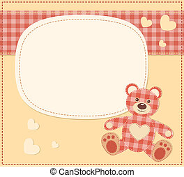 Card with the teddy bear for baby shower