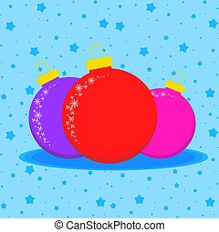 Card with three colored Christmas balls on a blue starry background