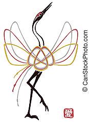 Card with traditional mizuhiki node as crane bird, chenese...