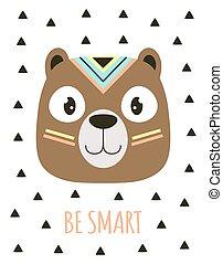 card with tribal cartoon dog, vector illustration