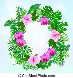 Card with tropical flowers, palm and banana leaves