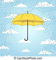 card with umbrella and rain